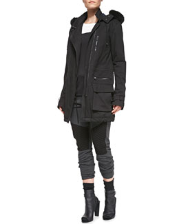 Vince Asymmetric Zip Quilted Parka, Two-Tone Short-Sleeve Tee & Quilted-Detail Jersey Sweatpants