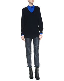 Vince Dolman-Sleeve Mesh Sweater, Classic Long-Sleeve Silk Blouse & Cuffed Straight-Leg Leather Pants