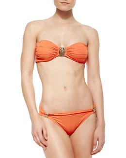 Carmen Marc Valvo Metal-Detail Bandeau Bra-Style Bikini Top & Folded Metal-Detail Bikini Bottom