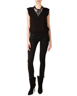 Neck-Chain Sweatshirt Top and Skinny 5-Pocket Jeans
