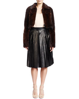 Givenchy Long-Sleeve Cropped Fur Jacket & Pleated Lambskin Leather Skirt