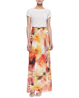 Alice + Olivia Rolled-Sleeve Front-Pocket Tee & Leah Floral-Print Wrap Skirt