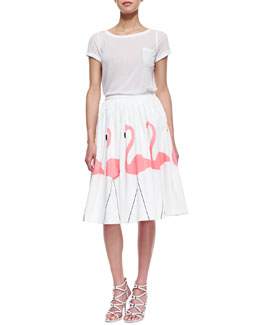 Alice + Olivia Rolled-Sleeve Front-Pocket Tee & Hale Middie Flamingo-Print Skirt