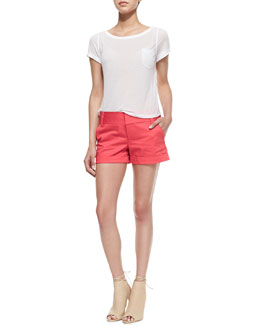 Alice + Olivia Rolled-Sleeve Front-Pocket Tee & Cady Cuffed Shorts