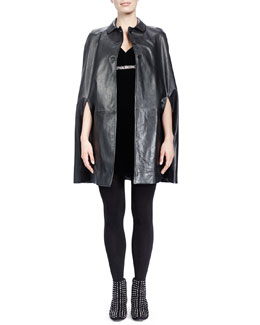 Saint Laurent Collared Leather Cape & Velvet V-Neck Crystal-Empire-Waist Dress