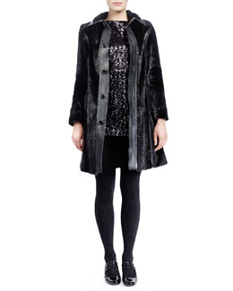 Saint Laurent Mid-Length Marmot Fur Coat & Long-Sleeve Sequined Minidress
