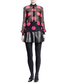 Saint Laurent Large Dot Georgette Shirt & Pleated Leather Miniskirt
