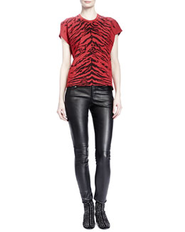 Saint Laurent Short-Sleeve Zebra-Print T-Shirt & Leather Skinny Pants