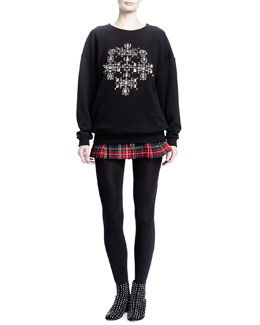 Saint Laurent Oversized Cross-Studded Sweater & Tartan Plaid Miniskirt