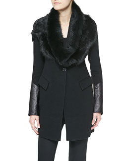 Donna Karan Shearling Tube Collar & Long Jacket with Leather Cuffs