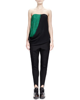 Stella McCartney Strapless Cady Top with Folded Fringe & Relaxed Narrow-Leg Stirrup Pants