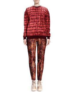 Stella McCartney Long-Sleeve Quilted Jacquard Sweatshirt & Slim Tie-Dye Jacquard Pants