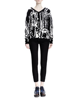 Stella McCartney Abstract Shibori Fringe Sweater & Slim-Leg Wool Twill Pants