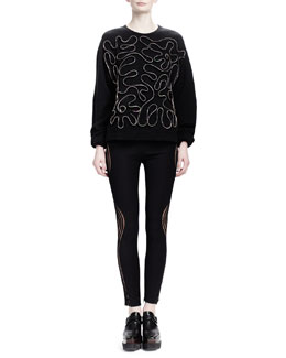Stella McCartney Zipper-Squiggle Sweater & Wave-Illusion Leggings