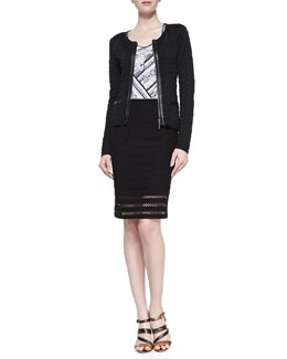 Nanette Lepore Wild Card Leather-Trim Cardigan, Spirited Printed-Front Slub Tank & Sojourn Crochet-Stripe Pencil Skirt