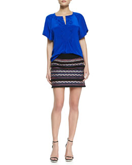 Nanette Lepore Fearless Split-Neck Stitch-Pleat Top & Vital Spark Embroidered Tassel Skirt