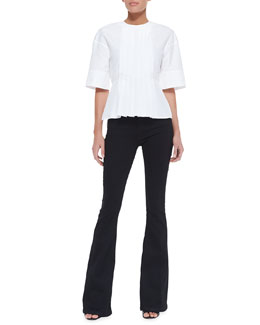 Victoria Beckham Denim Half-Sleeve Pleated-Front Top & Flared-Leg Jeans