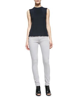 Victoria Beckham Denim Knit Side-Split Shell & Powerskinny Denim Jeans