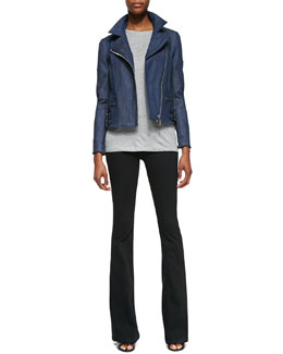 Victoria Beckham Denim Joan Denim Biker Jacket, Short-Sleeve Crewneck Tee & Flared-Leg Jeans