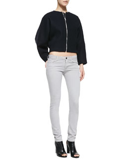 Victoria Beckham Denim Cropped Wool Bomber Jacket & Powerskinny Denim Jeans