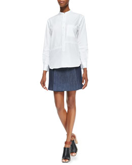 Victoria Beckham Denim Seamed Pocketed Menswear-Inspired Shirt & Front-Fold Denim Skirt