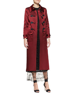 Adam Lippes Sateen Toggle Duffle Coat & Sleeveless Double-Layer Lace Midi Gown