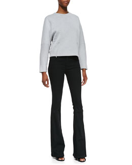 Victoria Beckham Denim Zip-Detail Kimono Sweater & Flared-Leg Jeans
