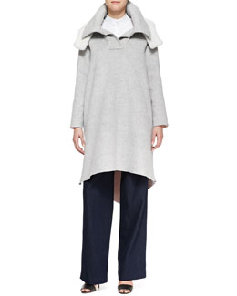 Adam Lippes Poncho with Shearling Hood, Poplin Shirt & Wide-Leg Pleated Denim Pants