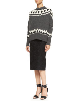 Adam Lippes Fair Isle Crewneck Sweater & Bonded Lace Pencil Skirt