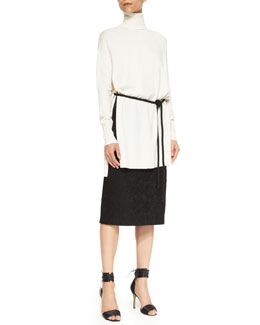 Adam Lippes Long-Sleeve Turtleneck Sweater, Rope Belt & Bonded Lace Pencil Skirt