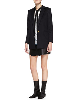 Adam Lippes Long Single-Button Blazer, Printed Long-Sleeve Tie-Neck Blouse & Short Leather Wrap Skirt