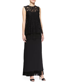 Adam Lippes Sleeveless Crewneck Lace Overlay Tunic & Long Fringe Skirt