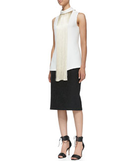 Adam Lippes Sleeveless Fringe-Front Shirt and Bonded Lace Pencil Skirt