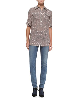 Tory Burch Brigitte Cotton Short-Sleeve Tunic & Super Skinny Denim Jeans