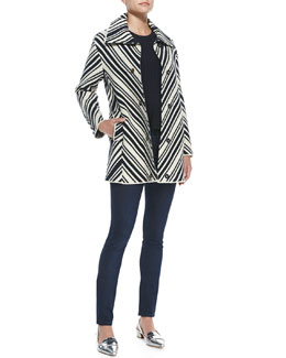 Tory Burch Tavia Chevron Winter Cotton Jacket, Sienna Cashmere/Silk Peplum Sweater & Super Skinny Denim Jeans
