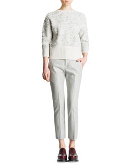 Jil Sander 3/4-Sleeve Bubble-Stitch Sweater & Slim-Leg Back-Yoke Flannel Pants