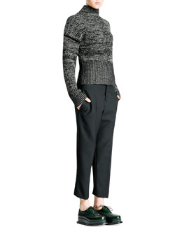 Jil Sander Funnel-Neck Bicolor Tweed Cashmere Sweater & Relaxed-Fit Tech Gabardine Pants