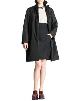 Jil Sander Padded Water-Repellant Nylon Jacket, Banded-Trim Boxy Sweater & Relaxed-Fit Tech Gabardine Pants