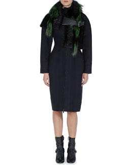 Fendi Mixed Fur Stole with Leather Buckle & Mock-Neck Nipped-Waist Zip Coat