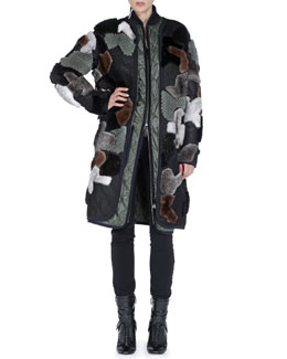 Fendi Mink Fur/Net Zip-Front Coat & Flat-Front Left-Stripe Slim Pants