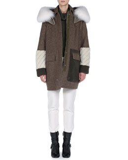 Fendi Hooded Mixed-Fur and Fleece Coat, Colorblock Ribbed-Front Short Sweater & Stretch Wool Jogging Pants