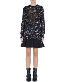 Fendi Cosmic Drop Long Knit Sweater and Zip-Front Dropped-Pleat Skirt