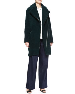 Adam Lippes Long Shearling Moto Coat, Long-Sleeve Tie-Neck Blouse & Wide-Leg Pleated Denim Pants