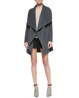 Vince Leather-Trim Asymmetric Car Coat, Raglan Thermal Cashmere-Blend Sweater & Drop-Yoke Boxer Shorts