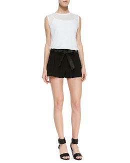 Alice + Olivia Sleeveless Slub Tee & Flutter Shorts with Leather Tie Belt