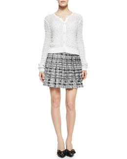 Alice + Olivia Cropped Novelty Stitched Cardigan & Kayla Printed Box Pleat Skirt