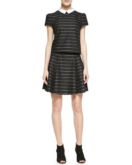 Alice + Olivia Blake Striped Puff-Sleeve Top & Pharl High-Waist Flared Skirt