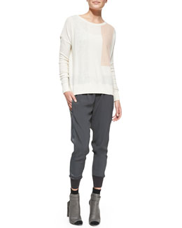 Vince Cashmere Geo-Design Intarsia Pullover & Ribbed-Cuff Jogger Pants