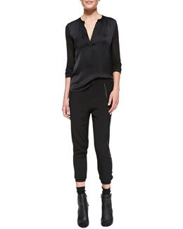 Vince Satin-Front Loose Jersey Top & Satin-Piped Wrapped-Seam Pants