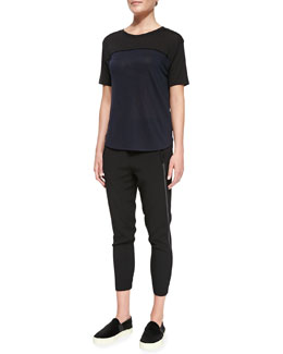 Vince Satin-Piped Two-Tone Tee & Satin-Piped Wrapped-Seam Pants